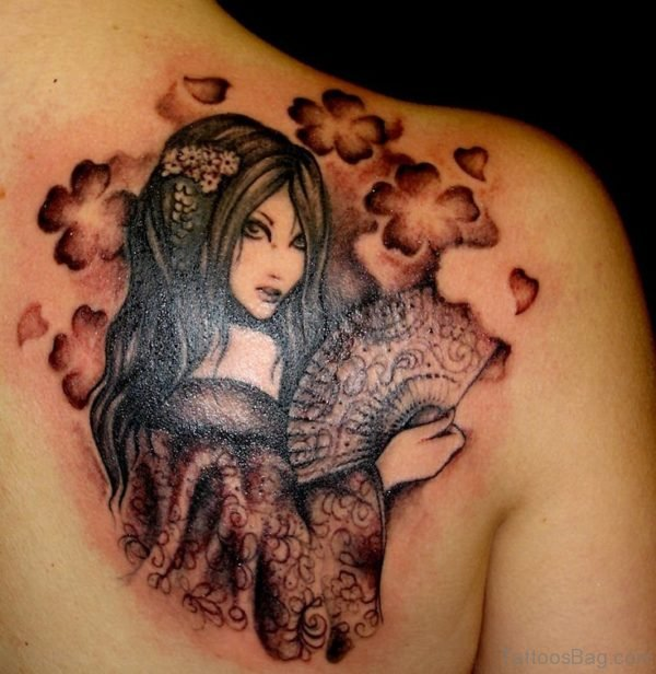 Charming Girl Tattoo Design On Upper Back Shoulder