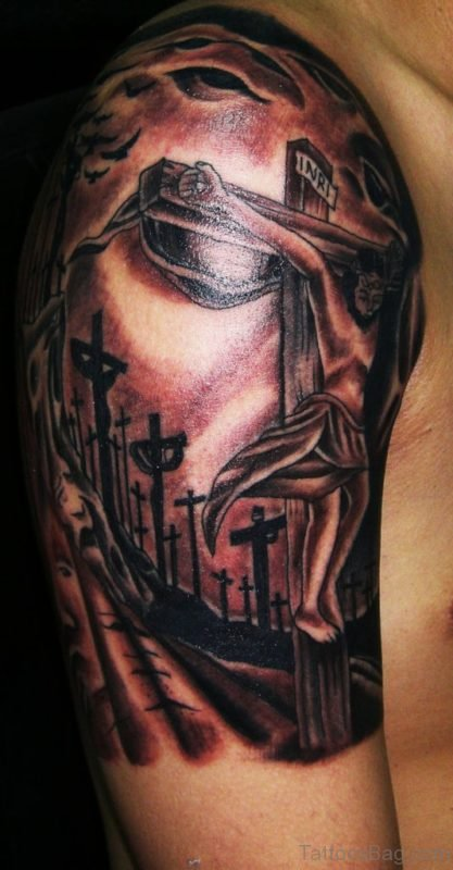 Charming Jesus Cross Tattoo On Right Shoulder
