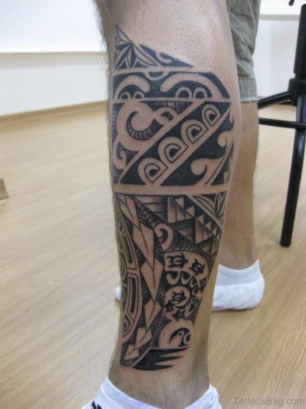 Charming Tribal Tattoo On Left Leg