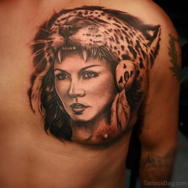 Cheetah Head Dress Aztec Tattoo