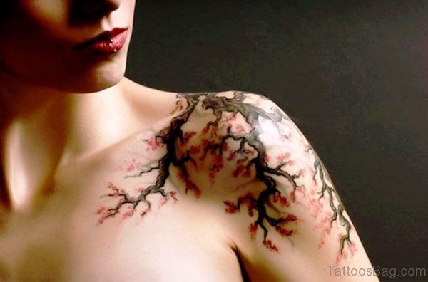 Cherry Blossom Flower Designer Tattoo