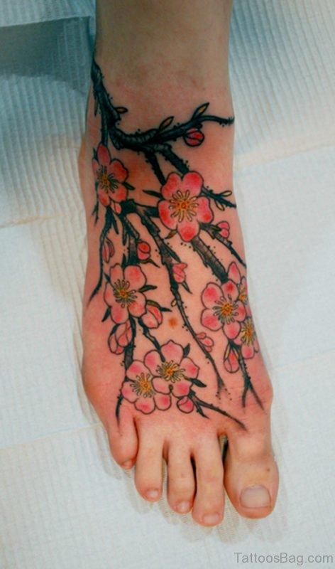 Cherry Blossom Flower Tattoo On Foot