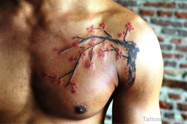 Cherry Blossom Front Shoulder Tattoo