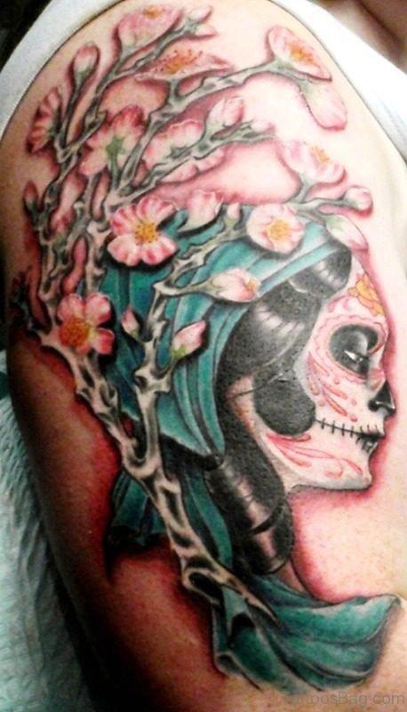 Cherry Blossom Gypsy Tattoo On Shoulder