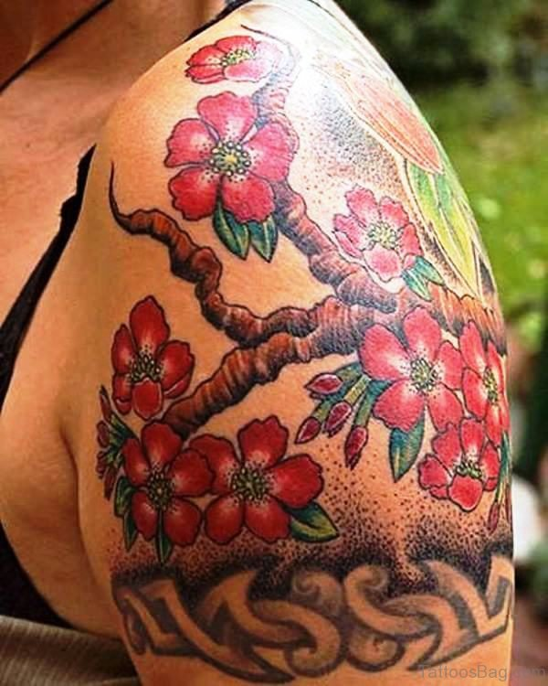 Cherry Blossom Tree Tattoo Design On Shoulder