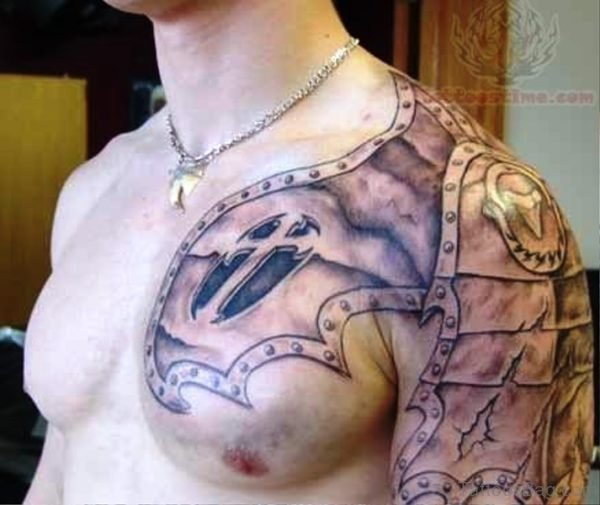 Chest And Shoulder Armour Tattoo