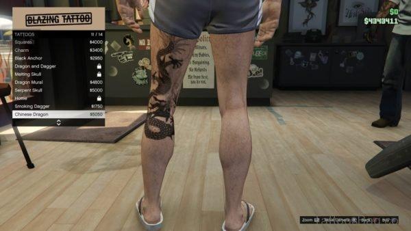 Chinese Dragon Tattoo On Back Leg