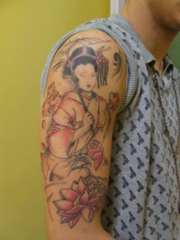 Chinese Girl Portrait Tattoo On Half Sleeve