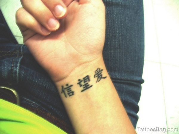 Chinese Wording Tattoo On Wrist