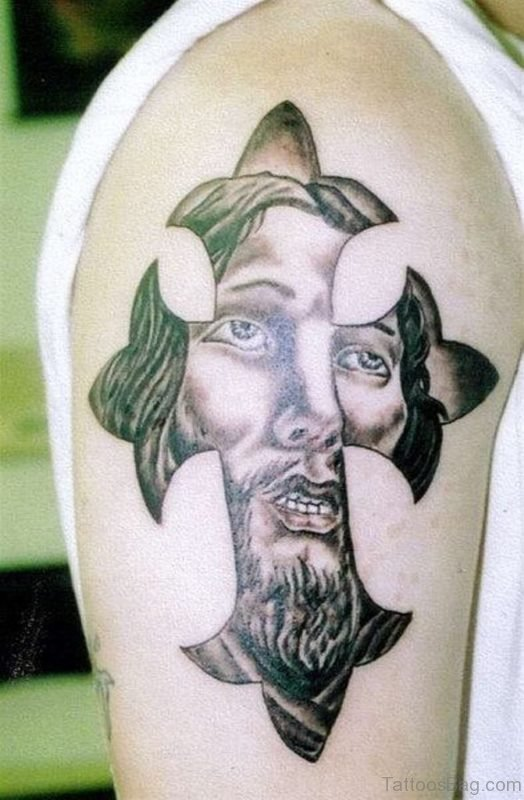 Christian Jesus Tattoo On Shoulder