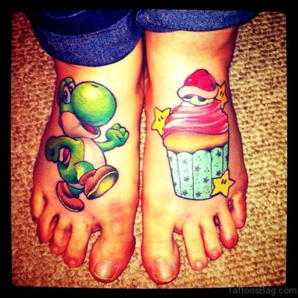 Christmas Cupcake Tattoo On Foot
