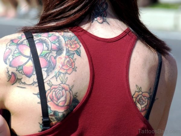 Circle Flower Tattoo On Shoulder
