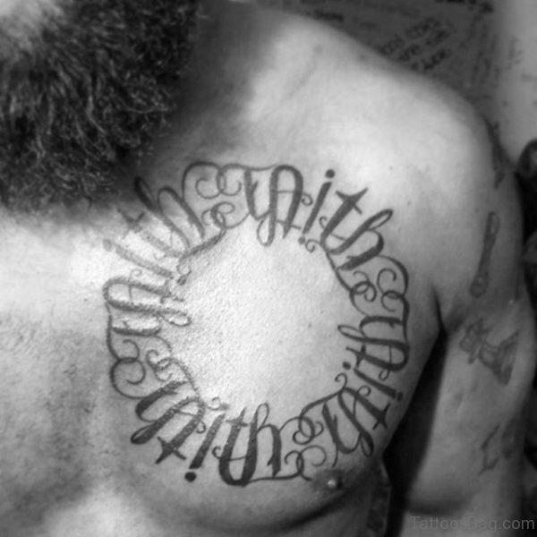 Circle Upper Chest Ambigram Men Tattoo