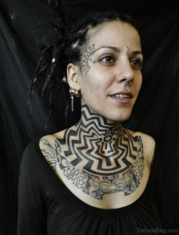Circular Tribal Tattoo On Neck