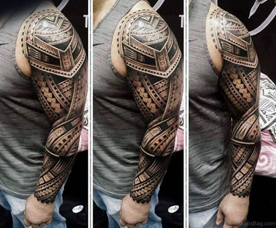 56 maori tattoo designs on full sleeve for Images of tribal tattoos