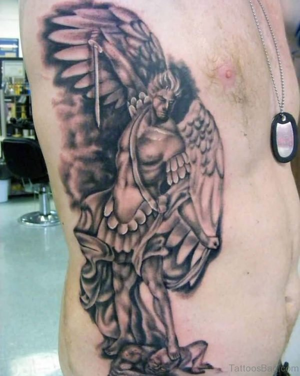 Classic Angel Tattoo On Rib