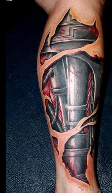 Classic Biomechanical Tattoo On Leg
