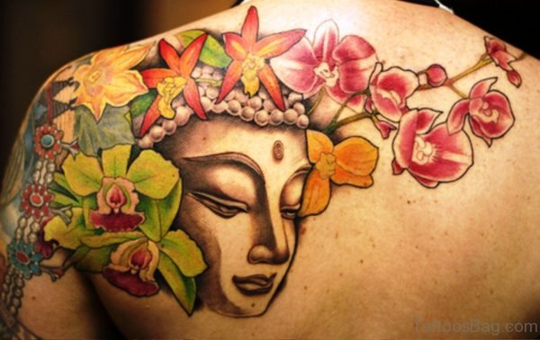 Classic Buddha Tattoo Design With Flowers