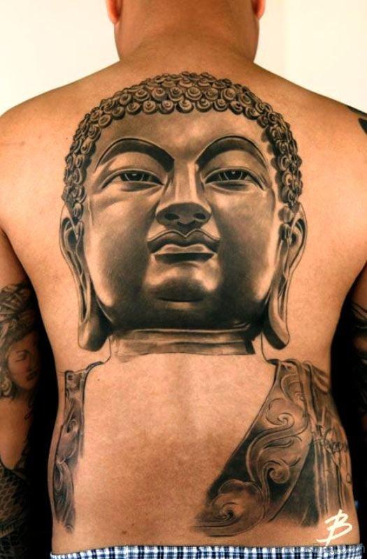 Classic Buddha Tattoo On Back