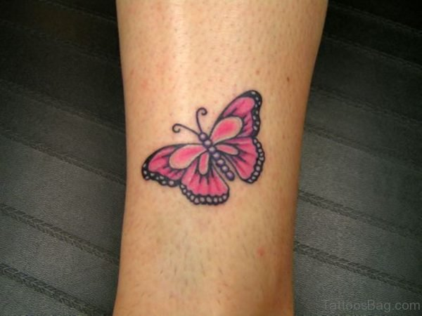 Classic Butterfly Tattoo Design For Ankle