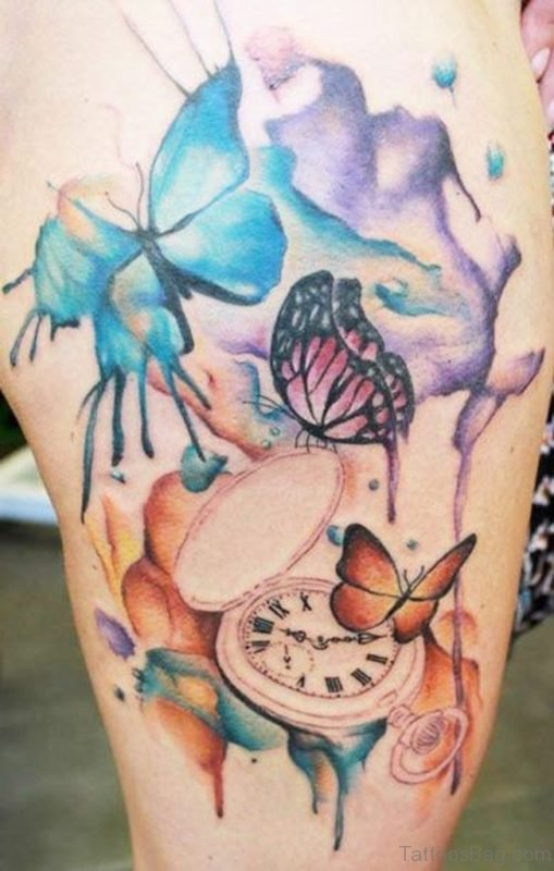 Classic Butterfly Tattoo On Thigh