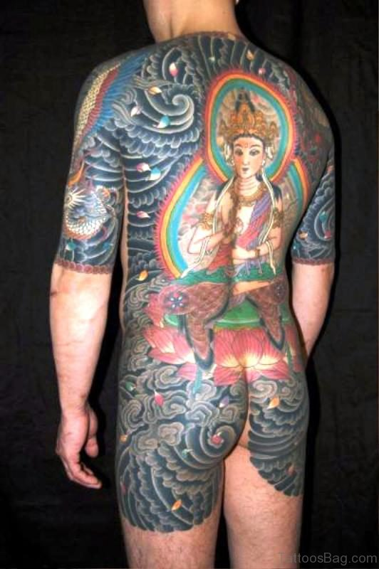 Classic Colorful Buddha Tattoo