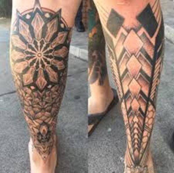Classic Geometric Tattoo On Leg
