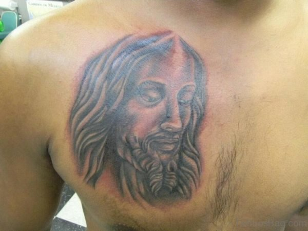 Classic Jesus Tattoo On Chest
