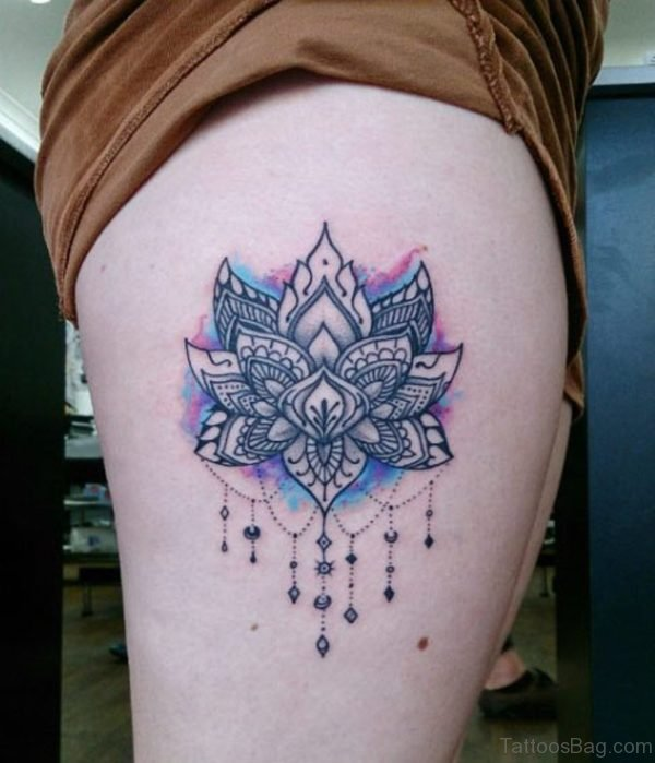 Classic Lotus Tattoo On Thigh