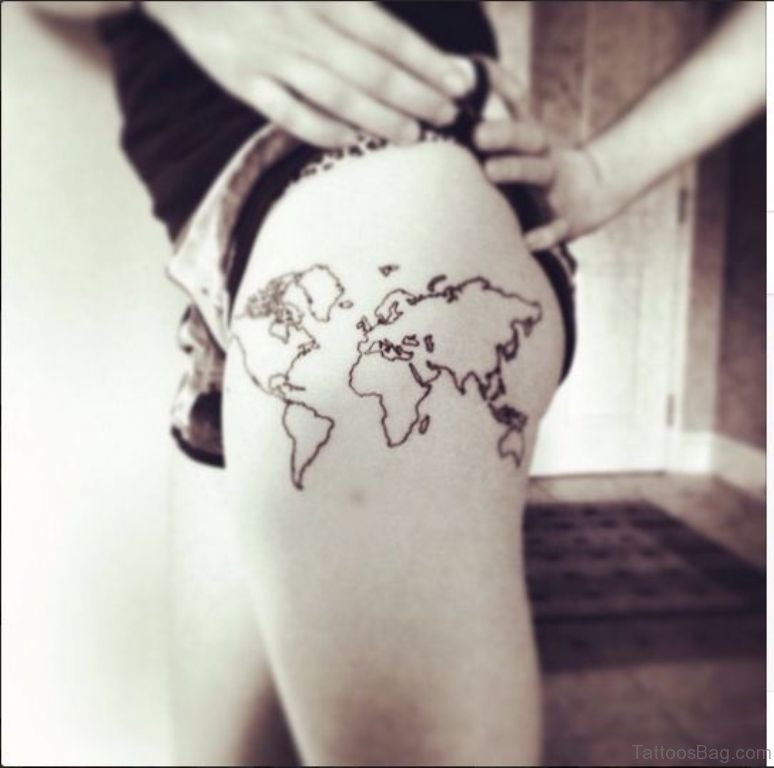 22 world map tattoos for thigh classic map tattoo gumiabroncs Images