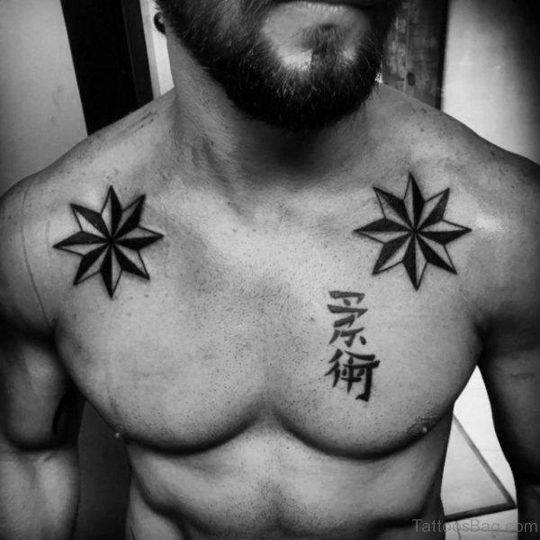 Classic Nautical Star Men Upper Chest Tattoo
