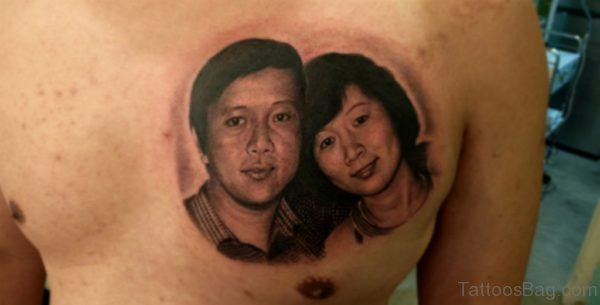 Classic Portrait Tattoo For Chest