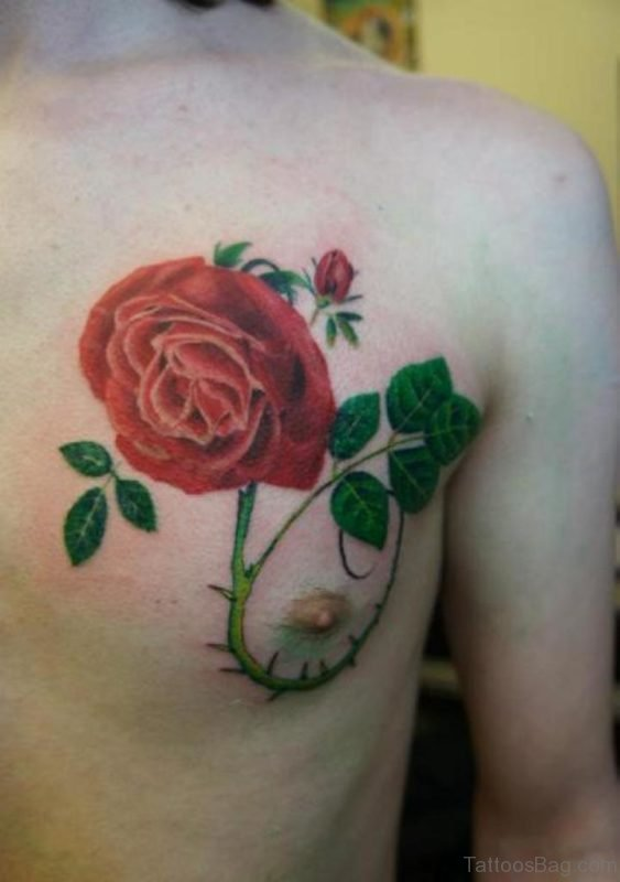 Classic Rose Tattoo Design On Chest