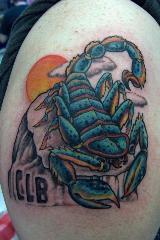 Classic Scorpion Tattoo Design On Shoulder