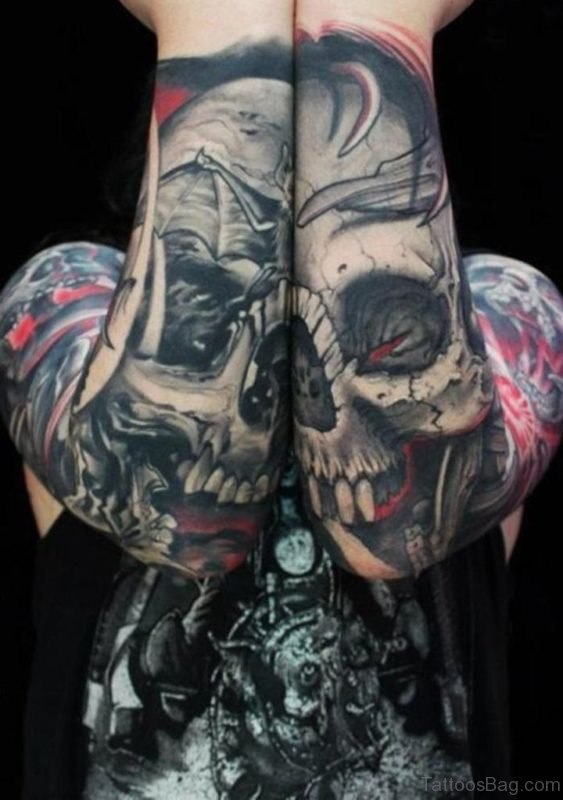 Classic Skull Tattoo On Full Sleeve