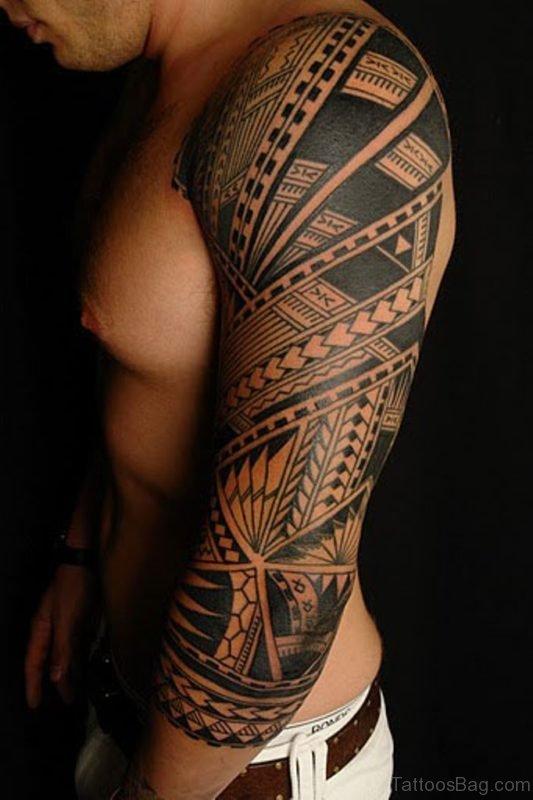 Classic Tribal Tattoo On Full Sleeve