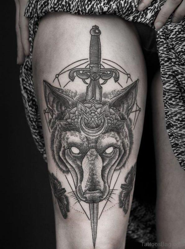 Classic Wolf Tattoo On Leg