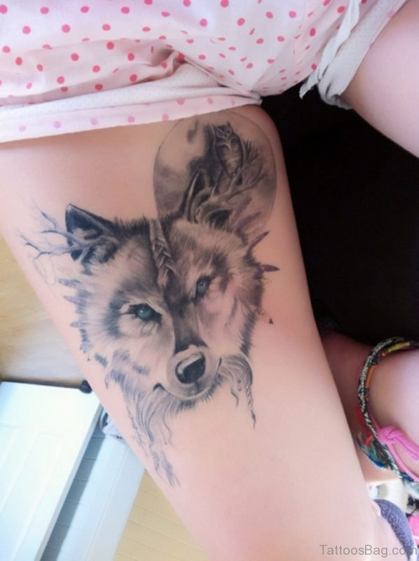Classic Wolf Tattoo On Thigh