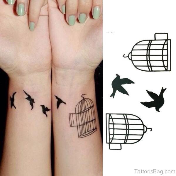 Classy Birdcage Wrist Tattoo