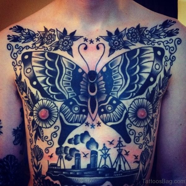 Classy Butterfly Tattoo On Chest