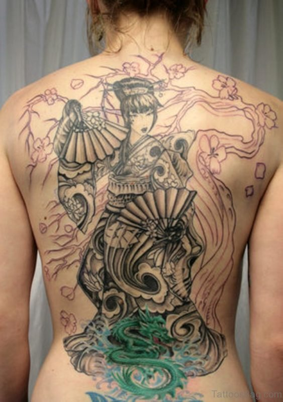 Classy Geisha Tattoo For Back
