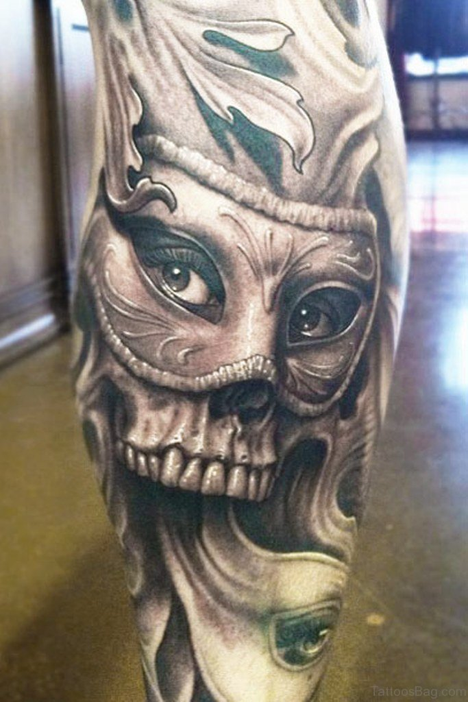 51 brilliant skull tattoos for leg. Black Bedroom Furniture Sets. Home Design Ideas