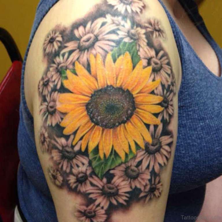 Sunflower And Daisy Tattoo: 71 Stunning Sunflower Tattoos On Shoulder