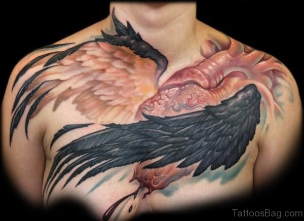 Classy Wings Tattoo On Chest