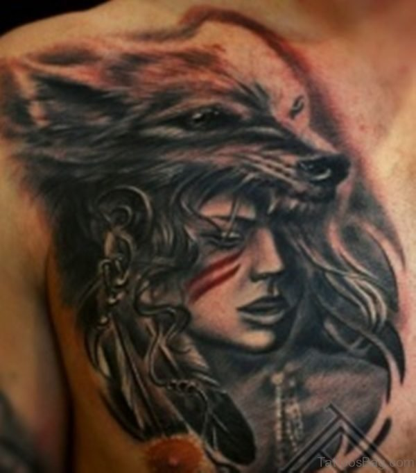 Classy Wolf Tattoo On Chest