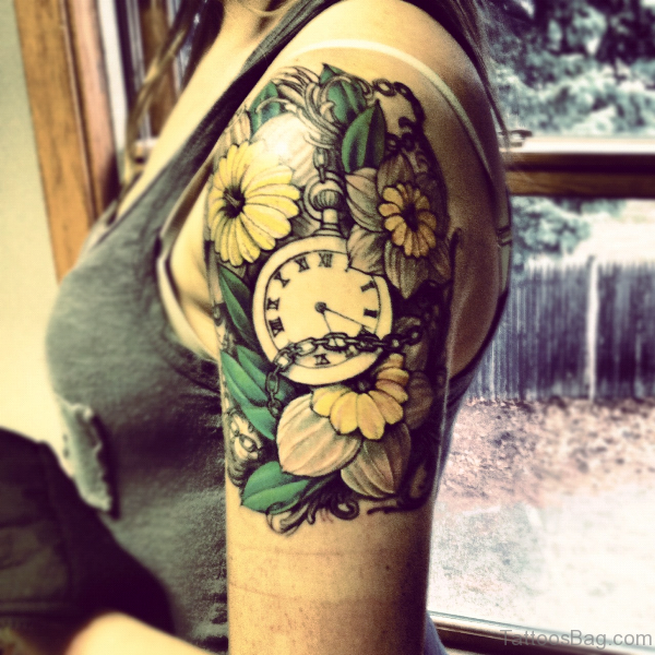 Clock And Flower Tattoo On Shoulder