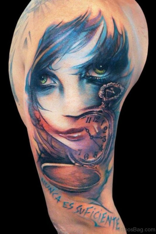 Clock And Girl Portrait Tattoo On Bicep