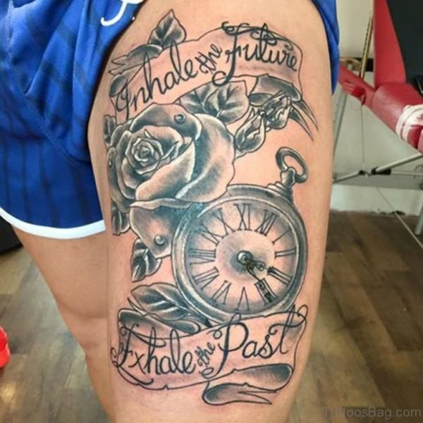 Clock And Rose Tattoo