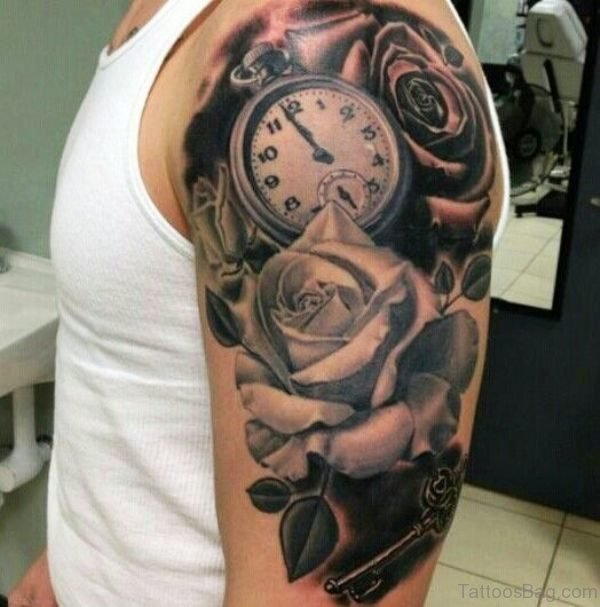 Clock And Rose Tattoo Design