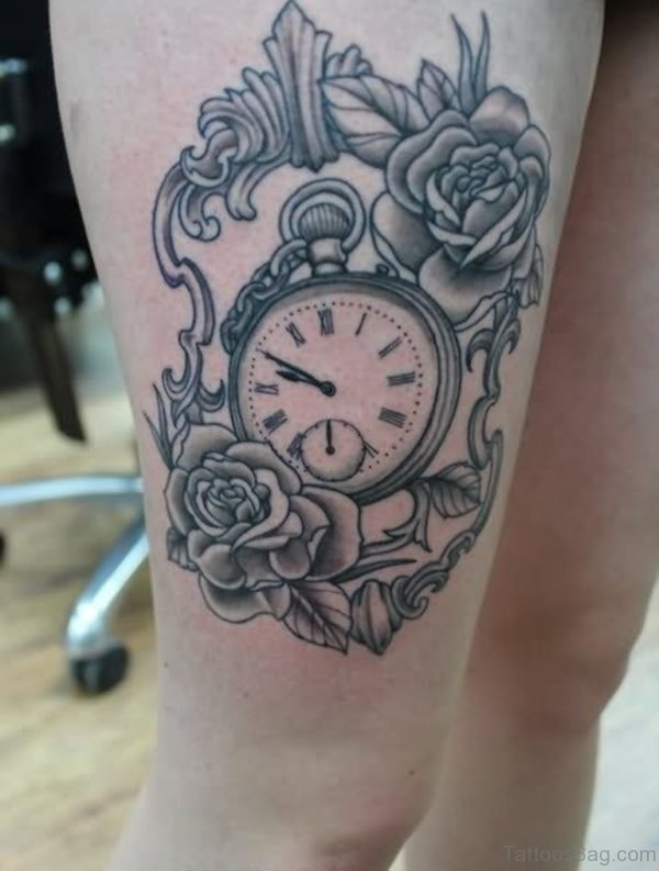 Clock And Rose Tattoo On Thigh